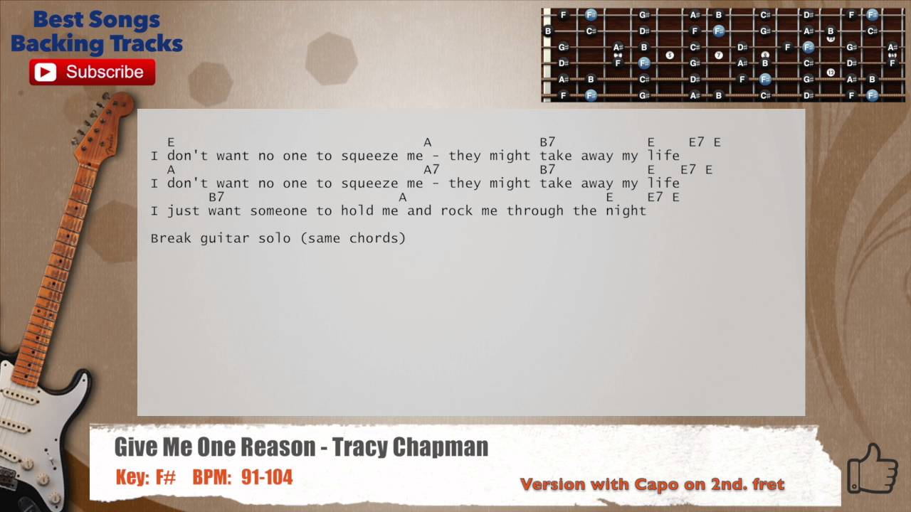 Give Me One Reason Tracy Chapman Guitar Soloriffs Backing Track