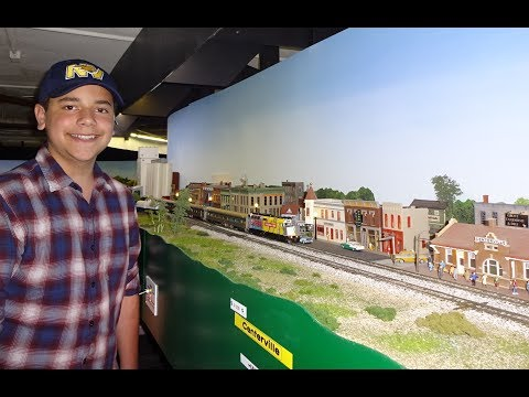 Awesome Large Model Railroad RR HO H.O. Scale Gauge Train Layout @ Lombard IL with amazing trains