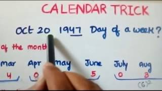Trick to solve calendar problems in less than 20 secs!!!! ( Telugu)