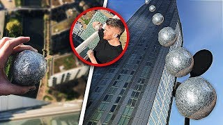 I DROPPED AN ALUMINIUM FOIL BALL OFF THE SIDEMEN TOWER!!! (Mirror-Polished Japanese Ball Challenge)
