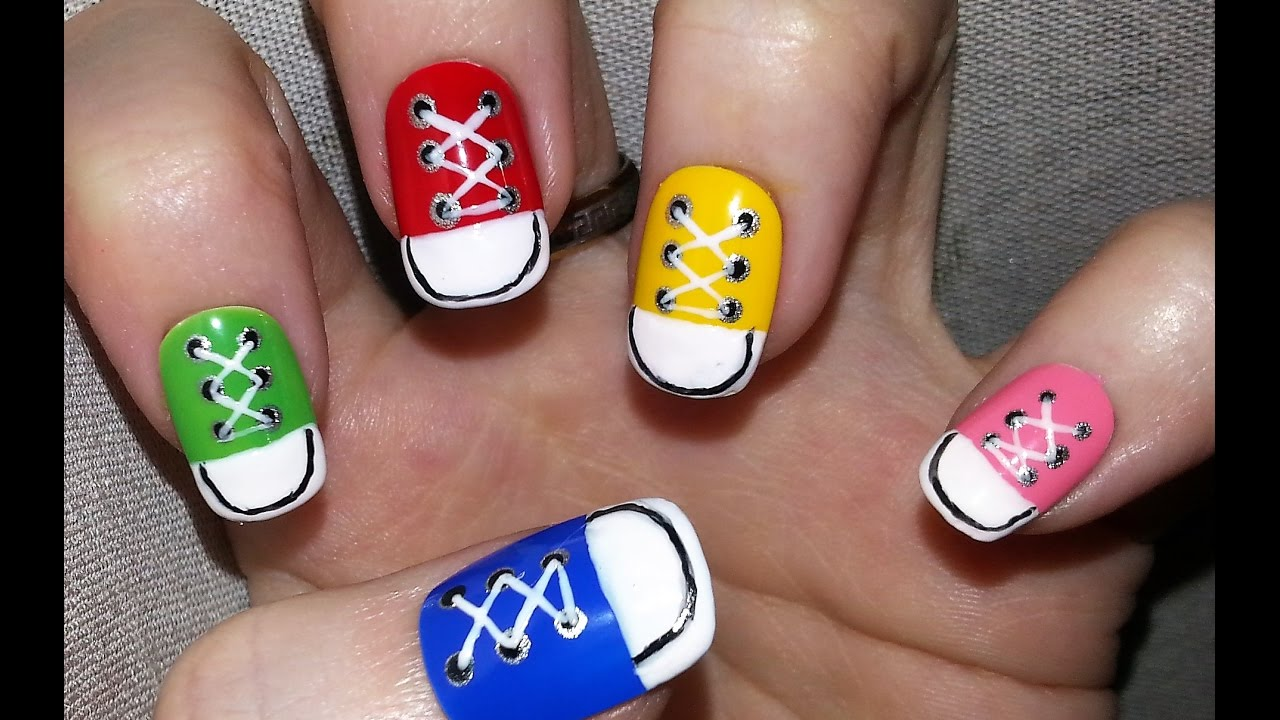 Nail Art Converse Nail Design Youtube