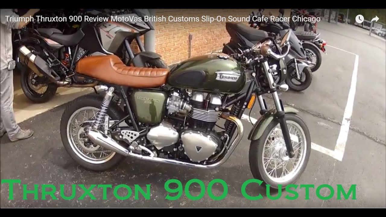 triumph thruxton 900 review motovas british customs slip on sound cafe racer chicago youtube. Black Bedroom Furniture Sets. Home Design Ideas