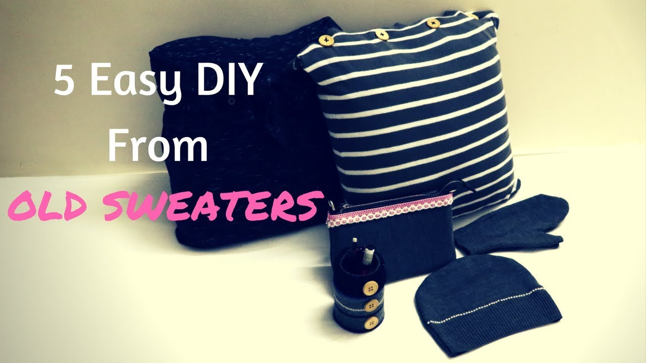 c84a07bf04f9 5 Easy DIY From Old Sweaters - How To Recycle Old Sweaters - YouTube