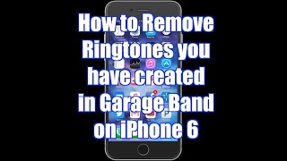 In this video i show you how to delete ringtones that were created garageband on your iphone 6. subscribe my channel and share all videos with ...