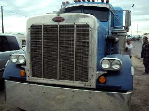 1972 Peterbilt extended hood 12v71 no pipes - YouTube