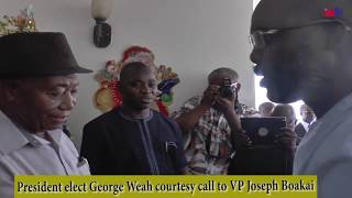 LIBERIA'S PRESIDENT ELECT GEORGE M. WEAH PAYS COURTESY TO VICE PRESIDENT JOSEPH N. BOAKAI