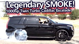 Legendary SMOKE! 1000hp Twin Turbo Cadillac Escalade Laying Down Tracks | Epic Burnout