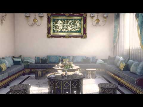 3d interior walkthrough salon marocain HD