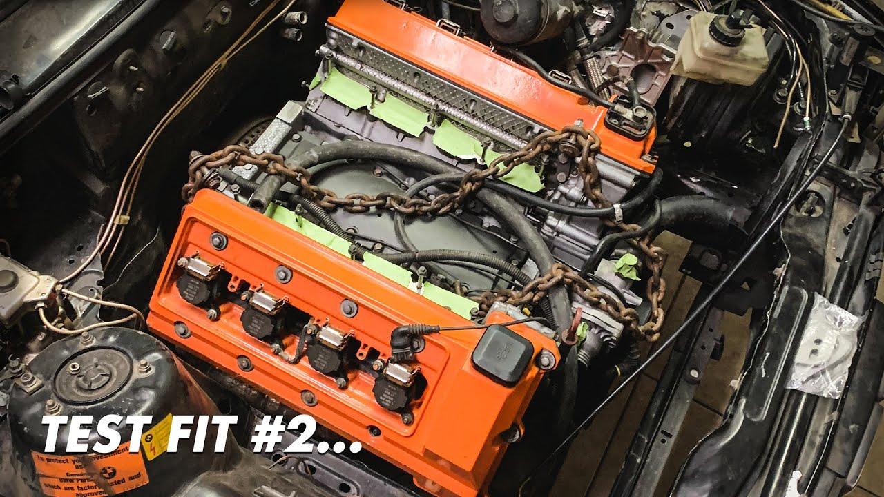 E30 M62B44 V8 SWAP TEST FIT!! ( AC Frame Rail Modification )