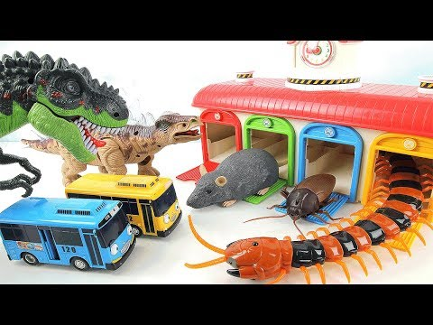 Dinosaur Fun Mini Movie~ Tayo Garage in Danger! Learn Names of Dinosaurs. Dino Toys for Kids.