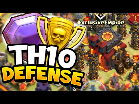 Clash of Clans - ULTIMATE TOWN HALL 10 (TH10) DEFENSIVE BASE! Easy Trophies + Defensive Wins!!