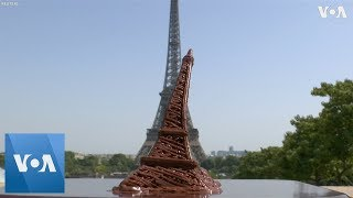 Chocolate Eiffel Tower Melting During Record Paris Heat Wave