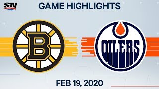 NHL Highlights | Bruins vs Oilers - Feb. 19, 2020
