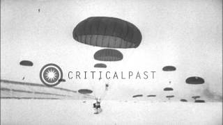 "US Paratroopers jump from aircraft and build ice shelters in Greenland during ""Ex...HD Stock Footage"