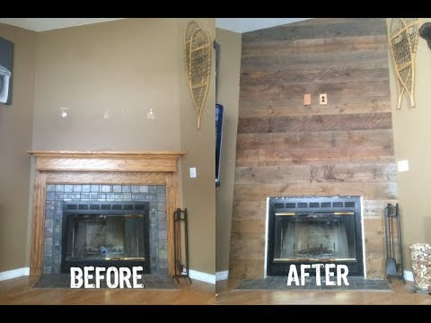 How To Make A Reclaimed Wood Fireplace Makeover In 50 Sec Youtube