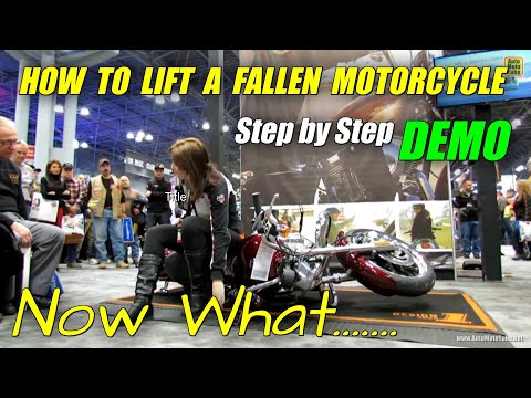 How to lift a fallen Motorcycle - Demonstration at Harley-Davidson Stand at 2013 NY Motorcycle Show