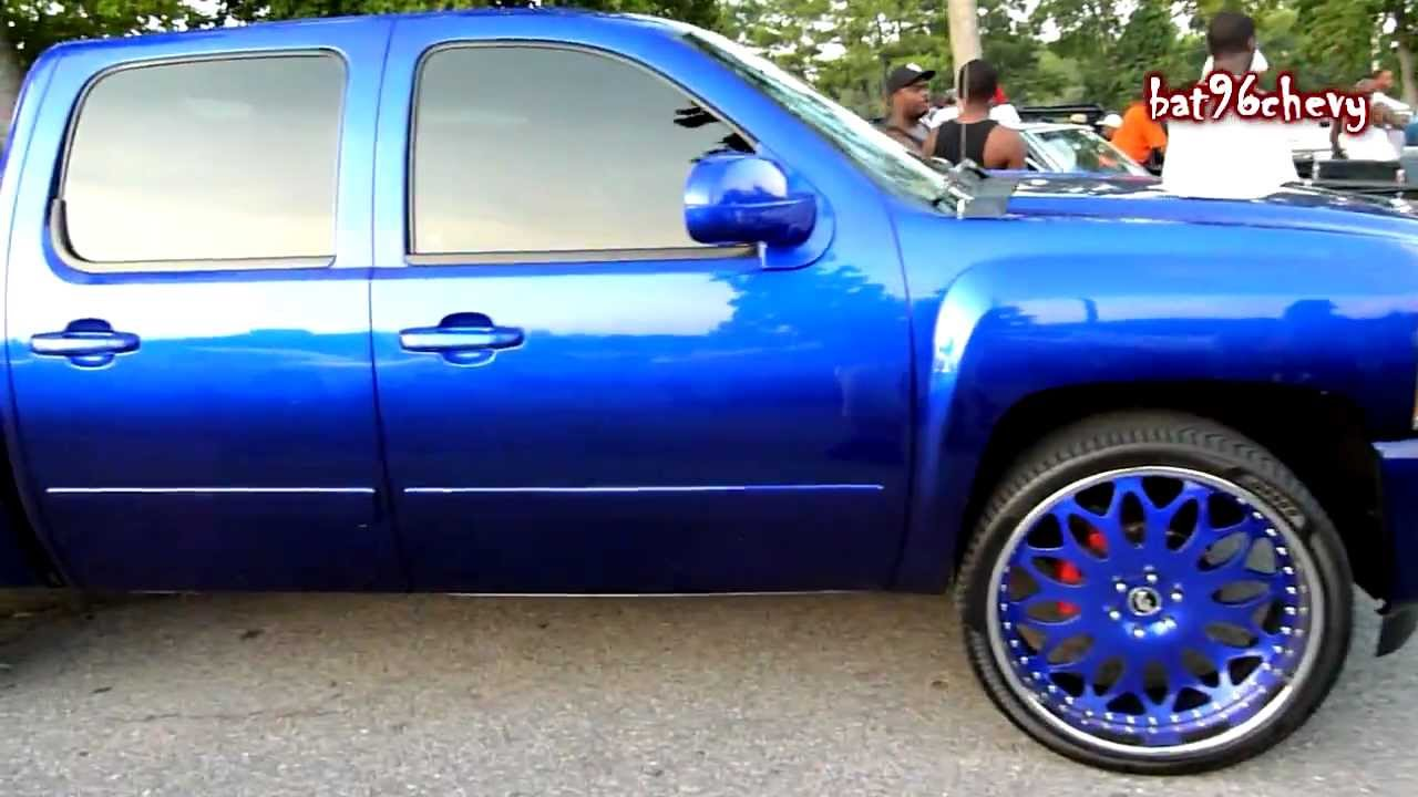 "Candy Blue Chevy Silverado Truck on 26"" Forgiatos - HD ..."