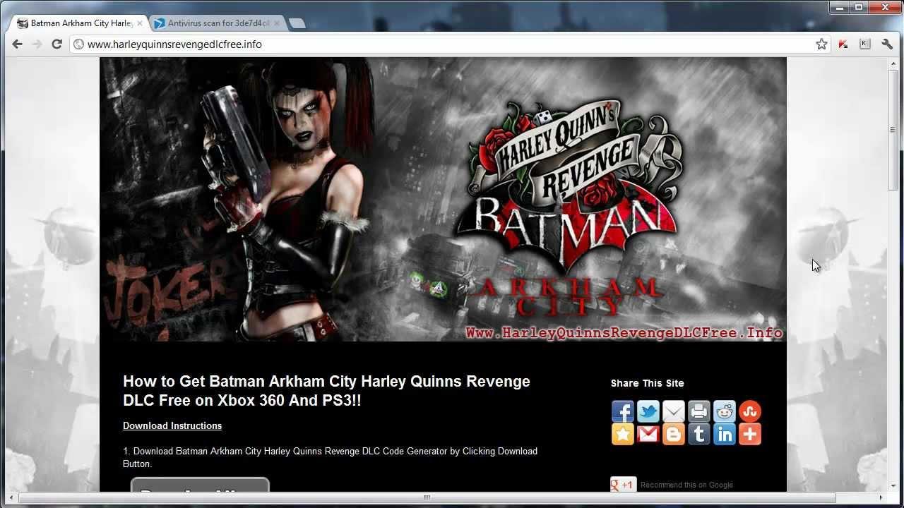 How to download batman arkham city harley quinns revenge dlc free.