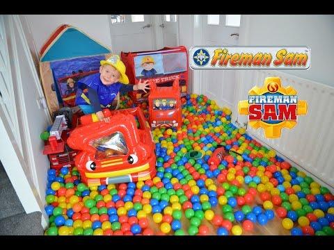 HUGE Fireman Sam Ball Pit Inflatable Fire Engines Fire Stations Feuerwehrmann Sam Show