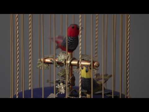 Vintage Swiss Reuge Music Box Automaton Singing Birds Cage Sainte Croix