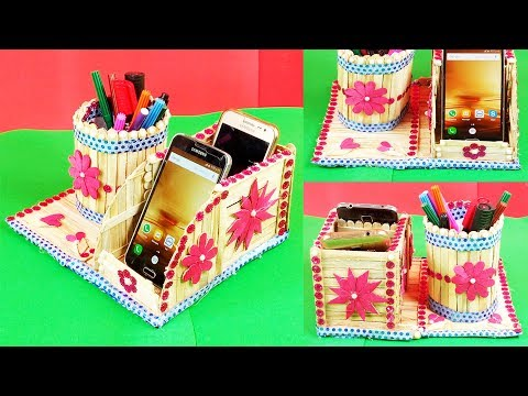 Popsicle Stick Crafts DIY How to Make Pen Stand and Mobile Phone Holder with Ice Cream sticks Crafts