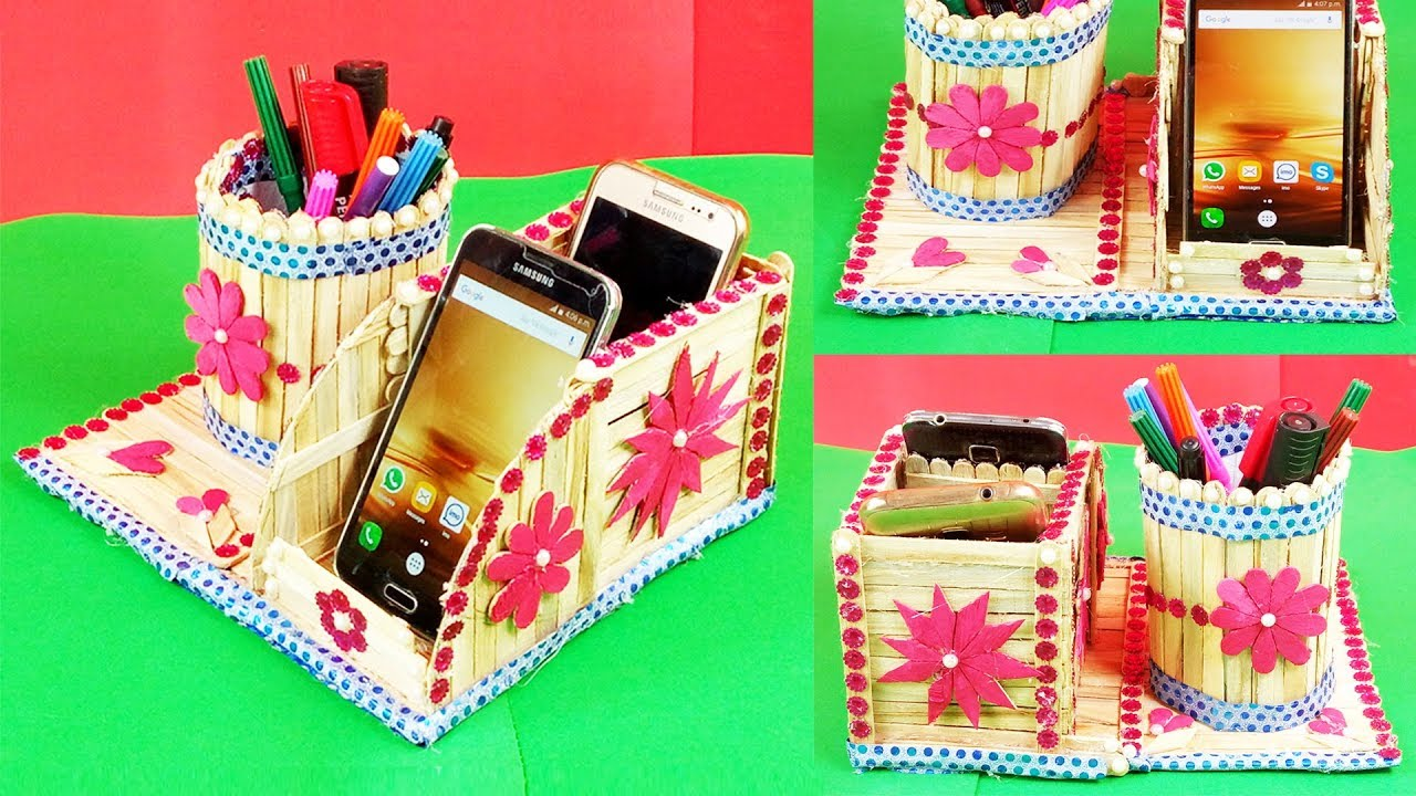 Popsicle Stick Crafts Diy How To Make Pen Stand And Mobile Phone