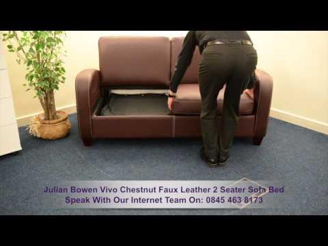 Julian Bowen Vivo Chestnut Faux Leather 2 Seater Sofa Bed