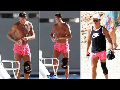 Cristiano Ronaldo wears knee brace on holiday in Ibiza
