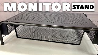 Metal Desk Monitor Stand Riser with Organizer Drawer Review