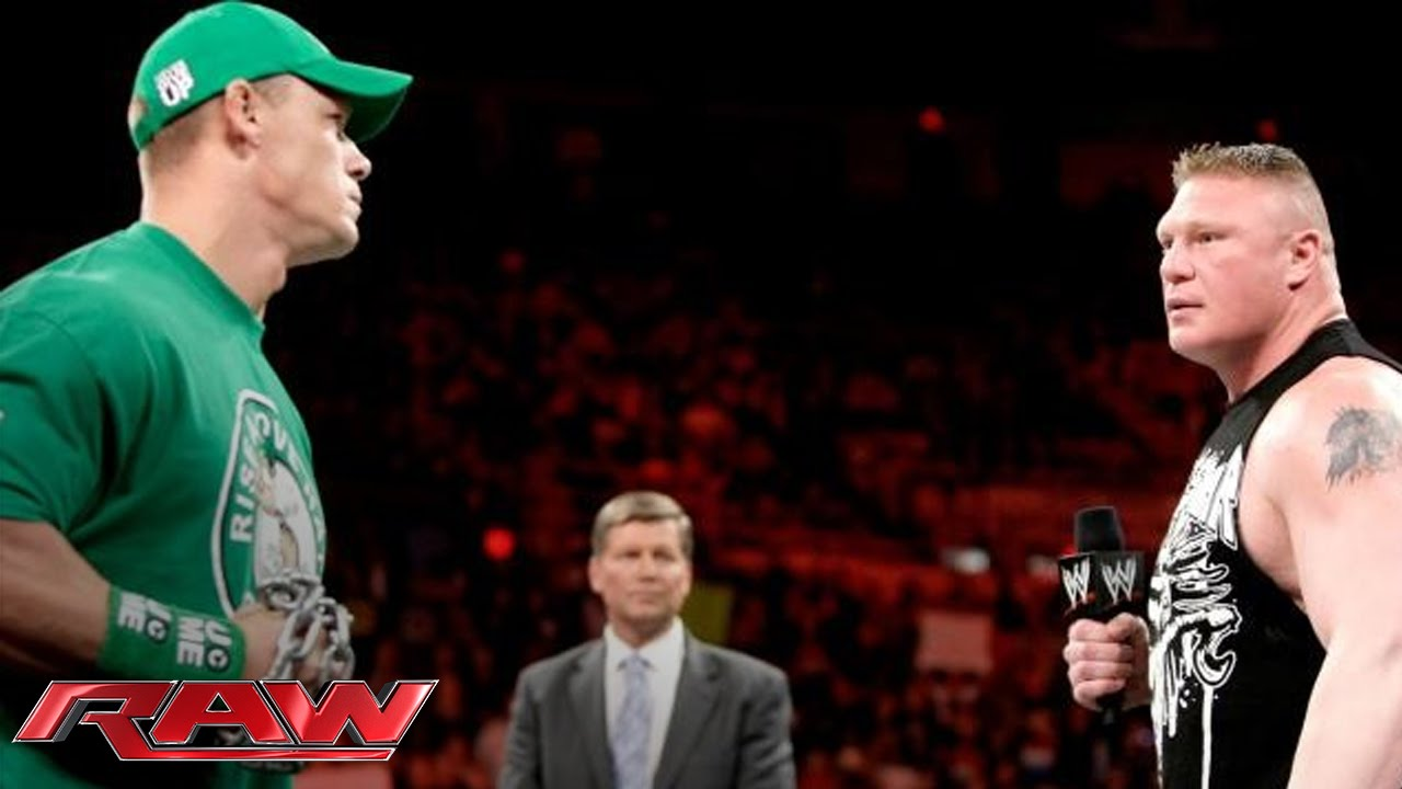 John Cena and Brock Lesnar sign the contract for their Extreme Rules Match: Raw, April 23, 2012