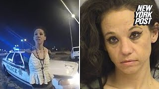Handcuffed woman speeds away in cop car