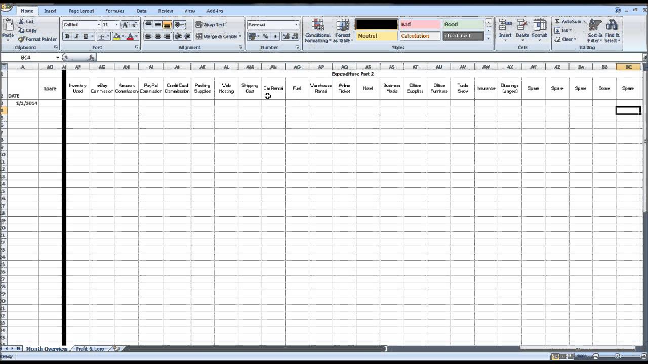 Free ebay spreadsheet template using excel youtube for Free ebay selling template