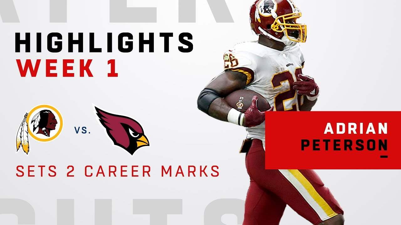 wholesale dealer f7c87 5bf33 Adrian Peterson Gets 26 Carries & 96 Yards in 1st Game w/ Redskins