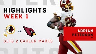 Adrian Peterson Gets 26 Carries & 96 Yards in 1st Game w/ Redskins