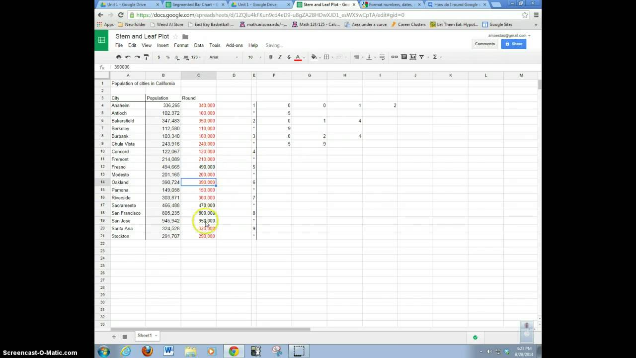 Calculate Variance Standard Deviation Google Sheets Stem And Leaf On A  Spreadsheet 20161105