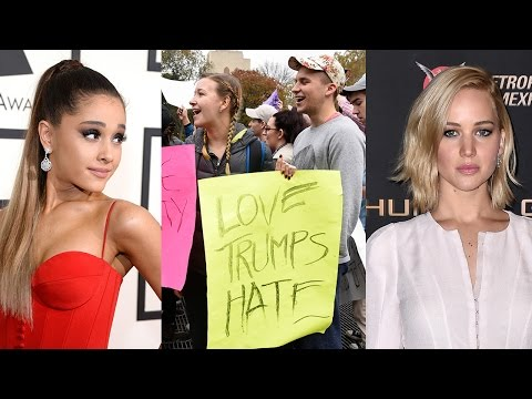 Jennifer Lawrence, Ariana Grande & MORE Celebs Protest Donald Trump