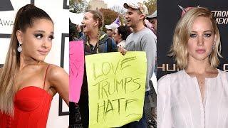 Jennifer Lawrence, Ariana Grande & MORE Celebs Protest Donald Trump's Win