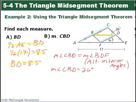 Midsegment theorem: examples (basic geometry concepts) youtube.