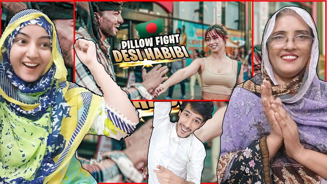 Download Pakistani react to Bengali PILLOW FIGHTS With American Girls (Bangla Funny Video)   Desi Habibi