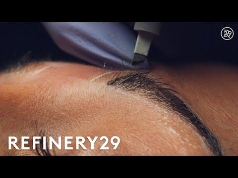 Microblading Permanent Eyebrow Tattoo In Slo Mo | Macro Beauty | Refinery29