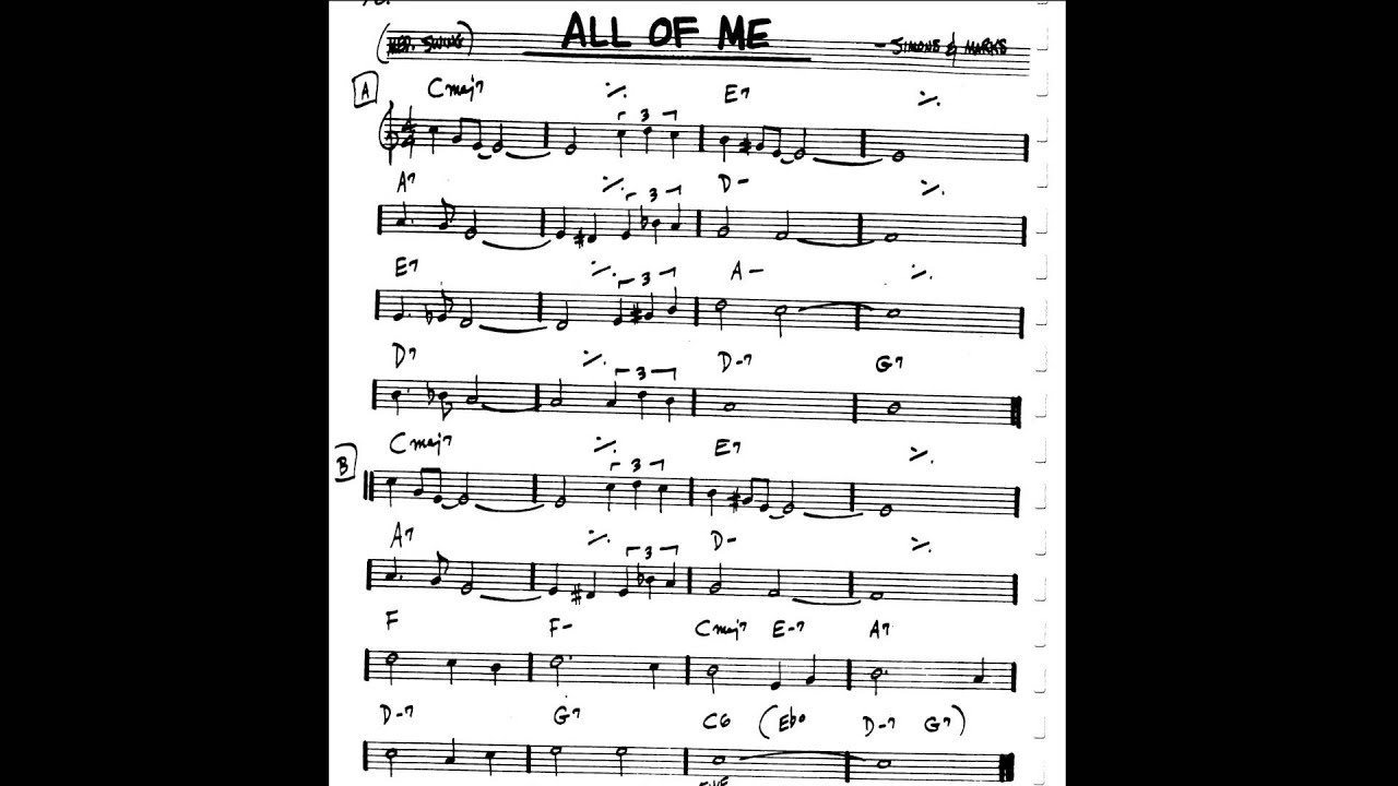 All Of Me - Backing Track - Play-Along (C key score violin/guitar/piano) - YouTube