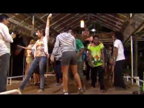 Patrons at Honiara Hotel having fun with Dancers from Easter Island
