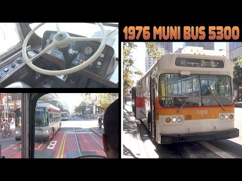 Riding around San Francisco in vintage 1976 Muni trolleybus number 5300