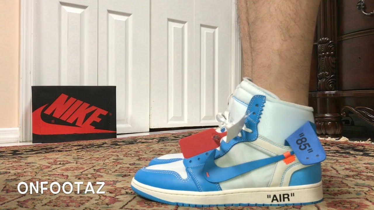 big sale 7420d 0b293 Air Jordan 1 OFF WHITE UNC University Blue On Foot