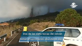 El volcán que ha erupcionado tiene siete bocas, y de dos de ellas está manando abundante lava en dirección a los núcleos poblados de Alcalá y Paraíso, que ya ha sido desalojado, según informaron las autoridades locales