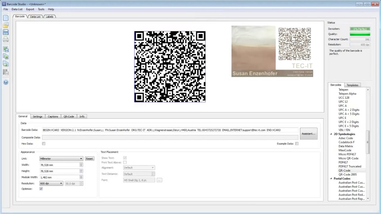 Create 2D Barcodes for vCard Business Cards - YouTube