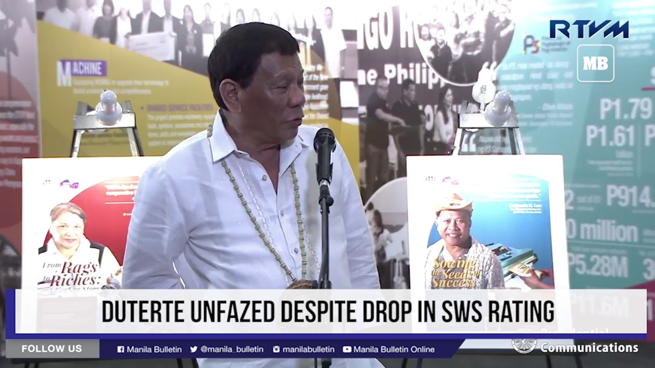 Duterte unfazed despite drop in SWS rating