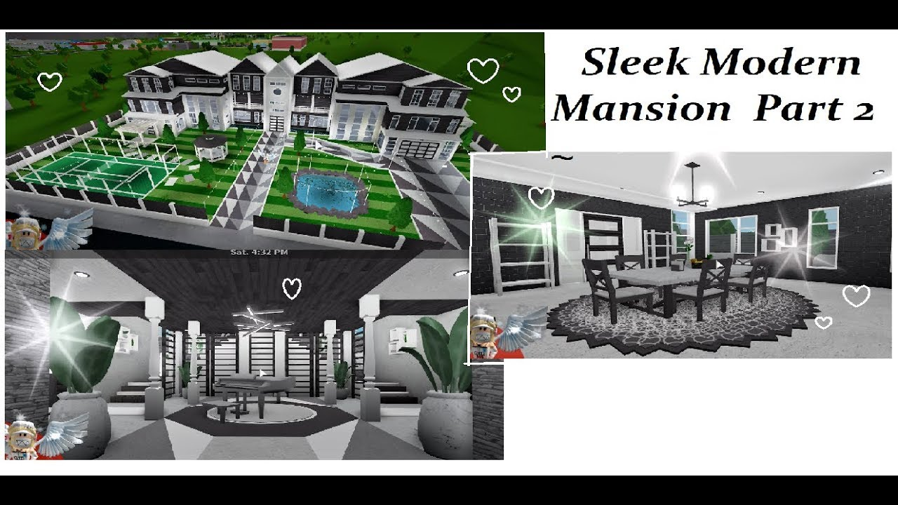 Sleek Modern Mansion Part 2 Bloxburg Speedbuild Youtube