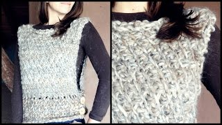 Repeat youtube video Cómo tejer un CHALECO a crochet en PUNTO TUNECINO diagonal | Ahuyama Crochet