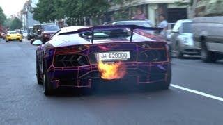 2 LOUD Lamborghini Aventadors SPITTING FLAMES In London!!